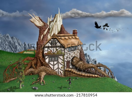 Magical thatched cottage invaded by an ancient tree - stock photo