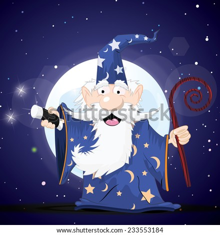Magical Wizard with a wand behind the moon.