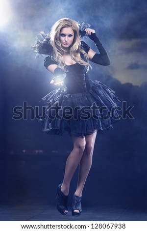 Magical young woman as  fairy - stock photo