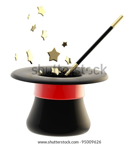 Magician's black hat with a glossy red tape and magic wand inside it, isolated on white