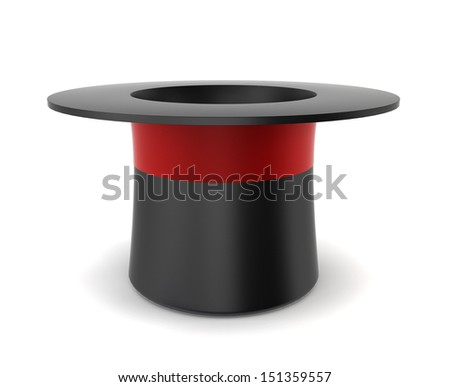 Magician's hat. 3d illustration on white background