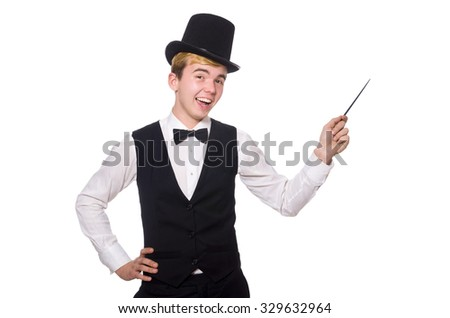Magician with magic stick isolated on white - stock photo