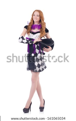 Magician woman with wand on white - stock photo