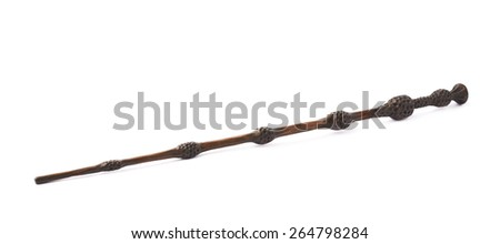 Magicians or illusionist wand made of plastic wood, isolated over the white background - stock photo