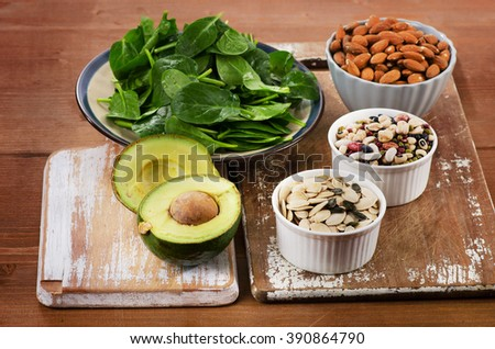 Magnesium Rich Foods on a wooden table. Healthy eating. Top view - stock photo