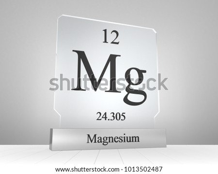Magnesium symbol on modern glass and metal icon 3D render