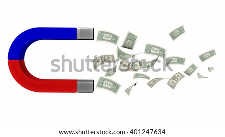 magnet dollars isolated, for background, 3d rendering - stock photo