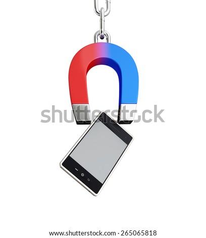 magnet mobile phone horseshoe on white background - stock photo