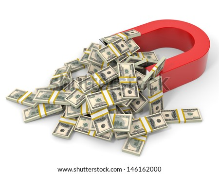 Magnet on white background attracts money dollars. 3D illustration. - stock photo