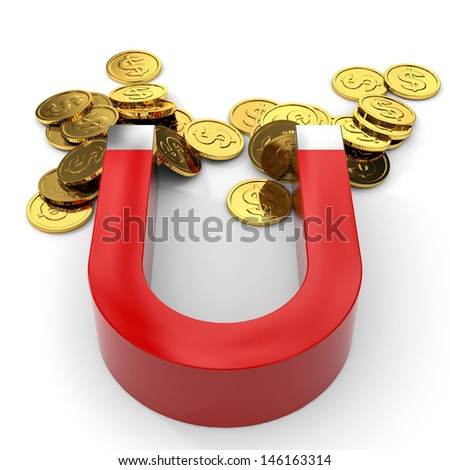 Magnet with coins on white background. 3D illustration.