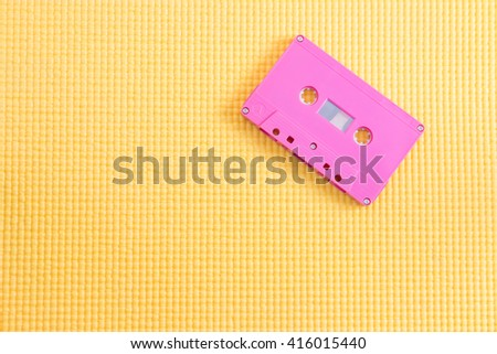 Magnetic audio tape cassette for music recording with copy space - stock photo