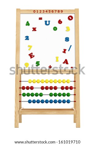 Magnetic board with abacus isolated on white - rendering - stock photo