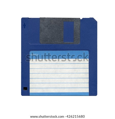 Magnetic diskette for personal computer data storage aka floppy disk isolated over white - stock photo