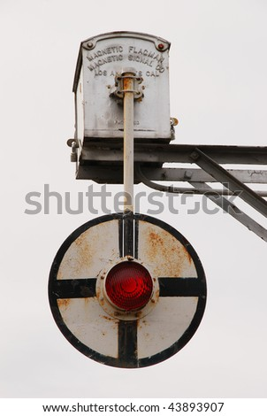 Magnetic Flagman, old railroad crossing signal in the Railroad District of Ashland OR.  New shopping area of Ashland. - stock photo