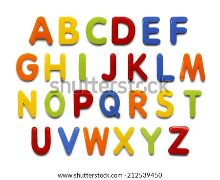 Magnetic Plastic ABC Letters Isolated on White Background. - stock photo
