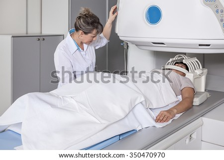Magnetic resonance imaging of the patient. - stock photo