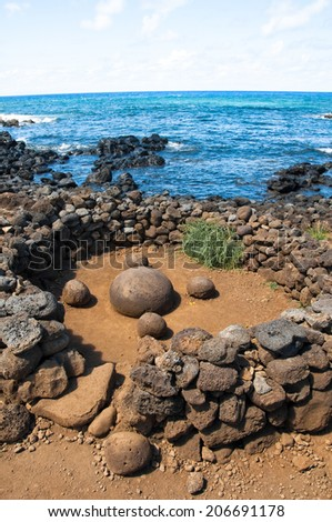 Magnetic round stone in Te Pito Kura, Easter island (Chile) - stock photo