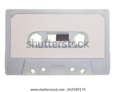 Magnetic tape cassette for analog audio music recording isolated over white - stock photo