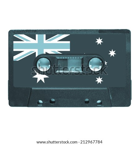 Magnetic tape cassette for audio music recording - Aussie music - cool cyanotype - stock photo
