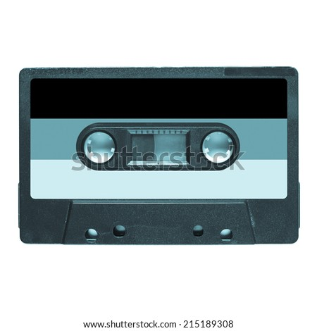 Magnetic tape cassette for audio music recording - German music - cool cyanotype - stock photo