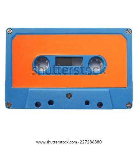 Magnetic tape cassette for music recording isolated over white background - stock photo