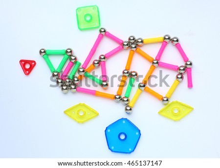 Magnets toy for child brain development on white background