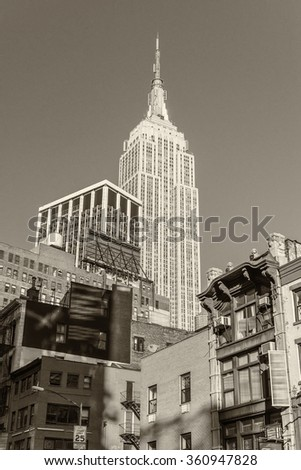Magnificence of New York Buildings in black and white. - stock photo