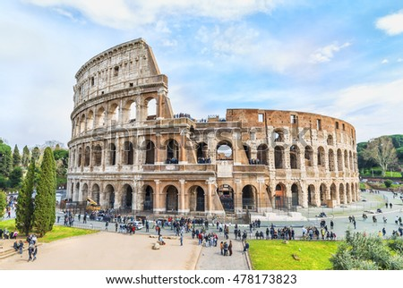 Magnificent aerial panoramnic view on the Great Roman Colosseum ( Coliseum, Colosseo ),also known as the Flavian Amphitheatre. Famous world landmark. Scenic urban landscape. Rome. Italy. Europe