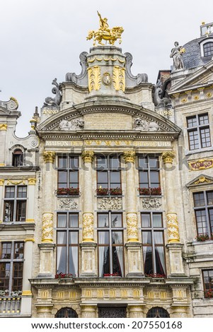 Magnificent ancient houses of the famous Grand Place (Grote Markt) - the central square of Brussels. Grand Place was named by UNESCO as a World Heritage Site in 1998. - stock photo