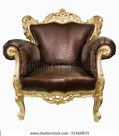 Magnificent armchair similar to a throne in a drawing room.
