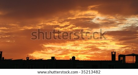 magnificent golden sunset with clouds