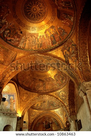 Magnificent interior of St Mark s Basilica Venice Italy - stock photo