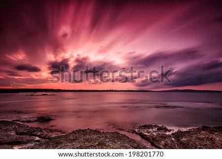 Magnificent long exposure sea sunset - stock photo