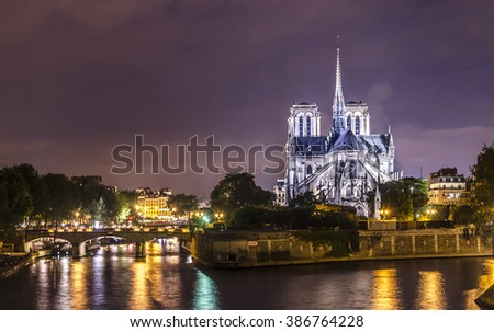 Magnificent Notre Dame Cathedral  in Paris  , France. - stock photo