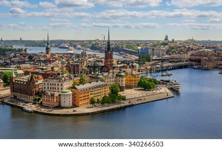 Magnificent panorama from height of bird's flight on observation deck on tower City Hall to Gamla Stan (Old Town), Stockholm, Sweden