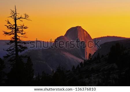 magnificent panoramic view of half dome at sunset / dusk, yosemite national park, california, usa - stock photo