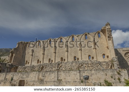 Magnificent ruins of Bellapais Abbey near the town of Kyrenia, North Cyprus - stock photo