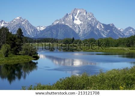 Magnificent Scene in Grand Teton National Park - stock photo