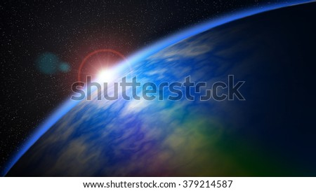 Magnificent scene of the sun and horizon of the Earth seen from space.