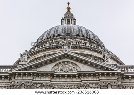 Magnificent St. Paul Cathedral in London. It sits at top of Ludgate Hill - highest point in City of London. Cathedral was built by Christopher Wren between 1675 and 1711. - stock photo