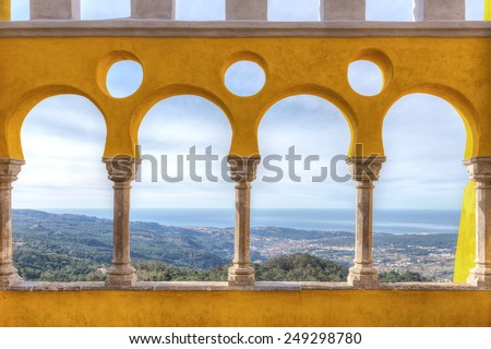 Magnificent view from the balcony of the castle Pena. Sintra, Portugal. - stock photo
