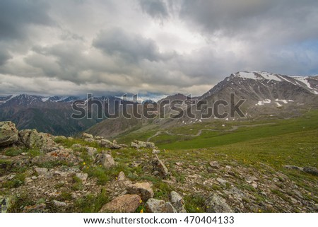 magnificent view of the mountain landscape in summer, Kazakhstan, Kyrgyzstan