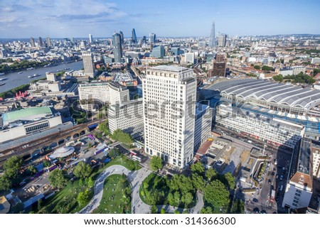Magnificent views of London cityscape from the top of London Eye - stock photo