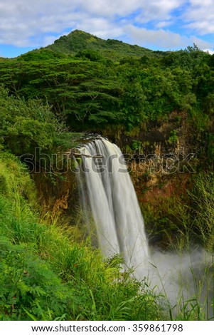 Magnificent Wailua Falls in Kauai, Hawaii - stock photo