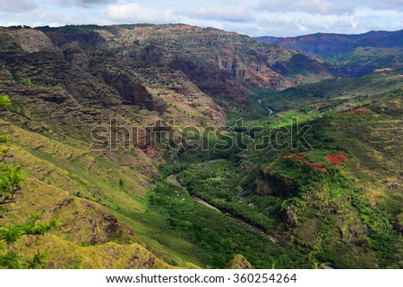 Magnificent Waimea Canyon (also known as Grand Canyon of the Pacific) in Kauai Island, Hawaii - stock photo