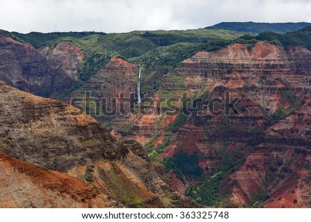 Magnificent Waimea Canyon (also known as Grand Canyon of the Pacific) in Kauai Island, Hawaii