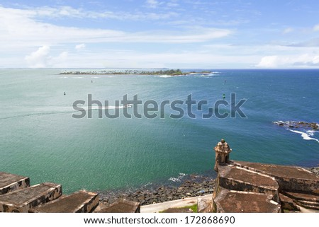 Magnificent water horizon over San Juan Bay with old Spanish fort walls - stock photo