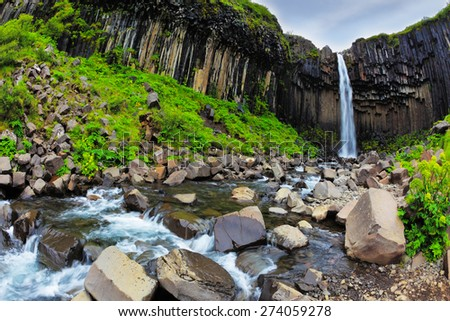 Magnificent waterfall Svartifoss in Icelandic park Skaftafell - stock photo