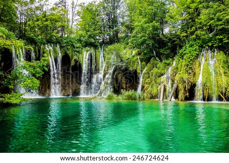 Magnificent waterfalls in Plitvice lakes National park