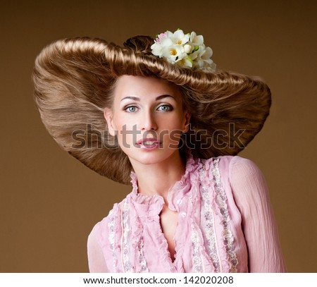 magnificent woman in a hat - stock photo